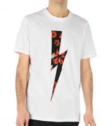 Neil Barrett White Thunder Printed T-Shirt