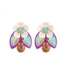 Multi-Color Bling Flower Earrings