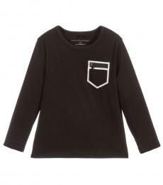 Little Boys Black Zip Pocket T-Shirt
