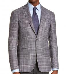 Canali Dark Grey Kei Trim Fit Plaid Coat