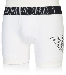 Emporio Armani White Cotton Boxer Trunk Briefs