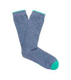 Blue Mini Dot Crew Sock