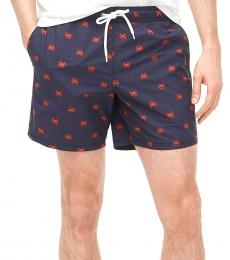 J.Crew Navy Blue Embroidered Crab Swim Trunk