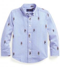 Ralph Lauren Little Boys Blue Boating Bear Seersucker Shirt