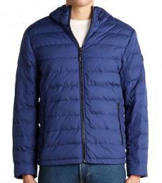 Dark Blue Packable Hooded Down Jacket