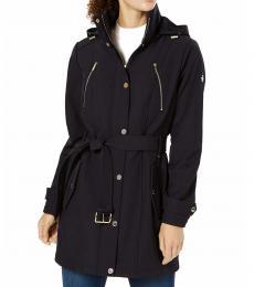 Michael Kors Navy Blue Hooded Belted Raincoat