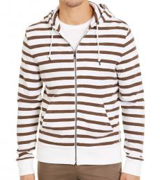 White Striped Hoodie Jacket