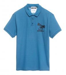 Moschino Blue Chest Logo Polo