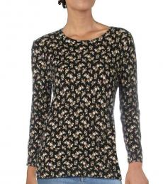 Ralph Lauren Black Floral Print Pullover Sweater Top