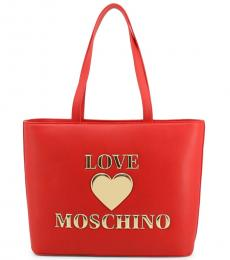 Love Moschino Red Padded Heart Large Tote