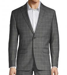 Grey Slim Fit Plaid Wool Suit