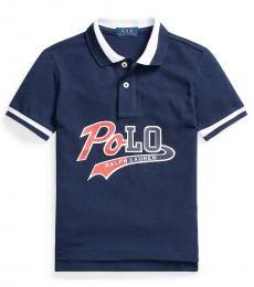 Ralph Lauren Boys Cruise Navy Logo Mesh Polo