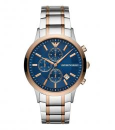 Emporio Armani Silver-Rose Gold Blue Dial Watch