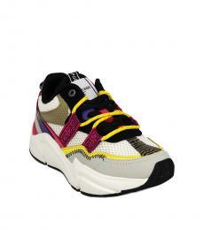 Roberto Cavalli White Multi Chunky Sneakers