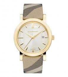 Burberry Gold-Beige Check Strap Watch