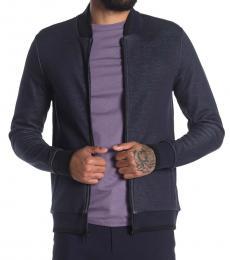 Calvin Klein Navy Blue Knit Bomber Jacket