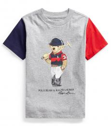 Ralph Lauren Little Boys Heather Multi Polo Bear T-shirt