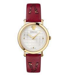 Versace Red Medusa Logo Watch