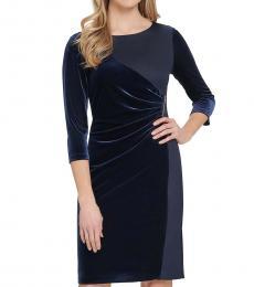 DKNY Midnight Navy Ruched Velvet Sheath Dress