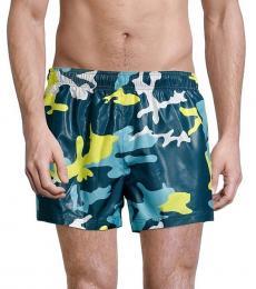 Emporio Armani Green Barreleye Camo Swim Trunks