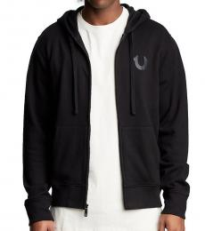 True Religion Black Buddha Logo Zip Up Hoodie