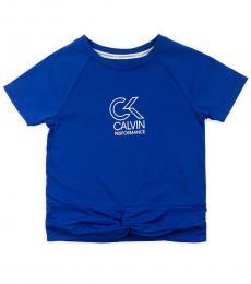 Calvin Klein Girls Blue Twist Front T-Shirt