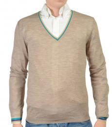 Beige Wool V-Neck Sweater
