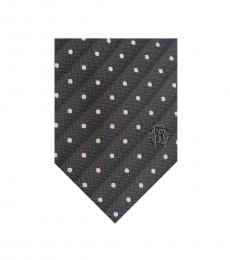 Grey Herringbone Polka Dot Tie