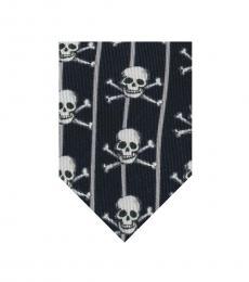 Blue Skull Striped Print Tie