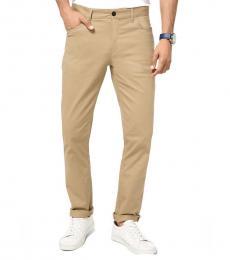 Michael Kors Khaki Parker Slim-Fit Stretch Twill Pants