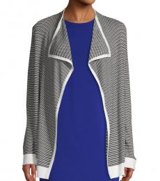 Black & White Textured Open-Front Cardigan