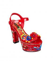 Red Floral Embellished Heels