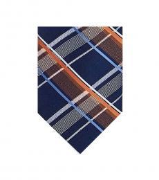Michael Kors Orange Plaid Silk Tie
