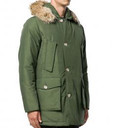 Woolrich Olive Multi-Pocket Parka Coat