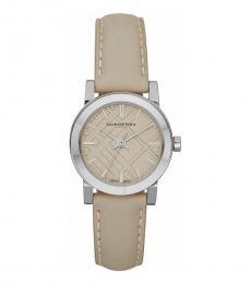 Beige Leather Strap Watch