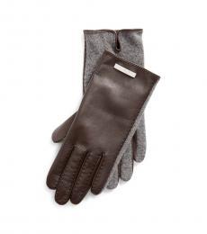 Ralph Lauren Dark Brown Leather Gloves