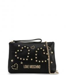 Love Moschino Black Studded Heart Small Crossbody