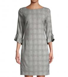 Karl Lagerfeld Black Plaid Tulip-Sleeve Sheath Dress
