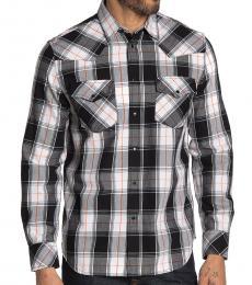 Diesel Black White Plaid Printed Shirt