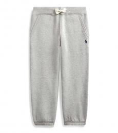 Little Boys Grey Cotton-Blend-Fleece Pants