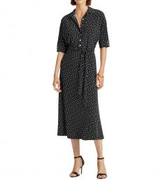 Polo Black Belted Fit-&-Flare Shirtdress