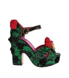 Dolce & Gabbana Green Roses Floral Heels