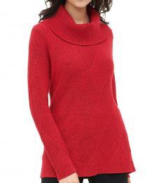 Calvin Klein Red Cowl Neck Knit Sweater
