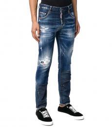 Dsquared2 Dark Blue Splatter Stonewashed Jeans