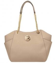Michael Kors Beige Oyster Jet Set Chain Large Tote