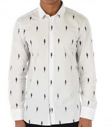 Neil Barrett White Slim Fit Thunderbolt Shirt