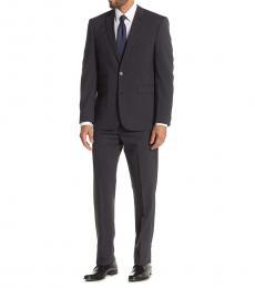 Vince Camuto Dark Grey Plaid Notch Lapel Slim Fit Suit