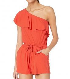 Billabong Orange One Shoulder Jumpsuit