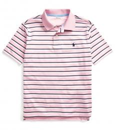 Boys Carmel Pink Striped Performance Polo