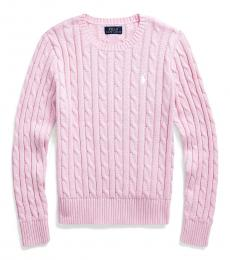 Girls Carmel Pink Cable-Knit Sweater